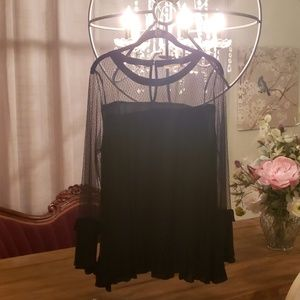 Black Blouse With Sheer Detail